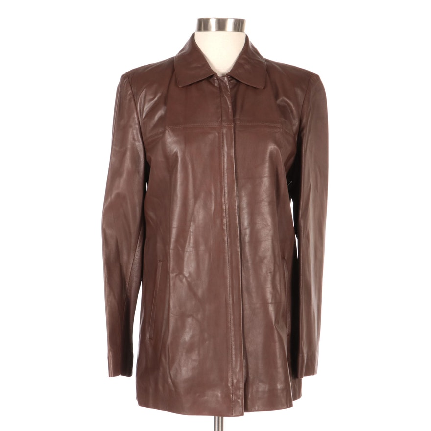 Brown Leather Zip Jacket from Vincents, New with Merchant Tag