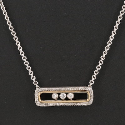 Sterling Diamond Open Bar Necklace with 10K and Sliding Diamond Accents