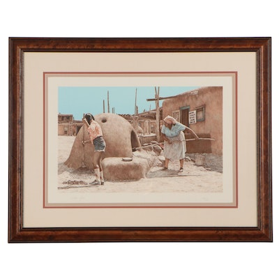 """Steve Forbis Color Lithograph """"Sharing Traditions"""""""