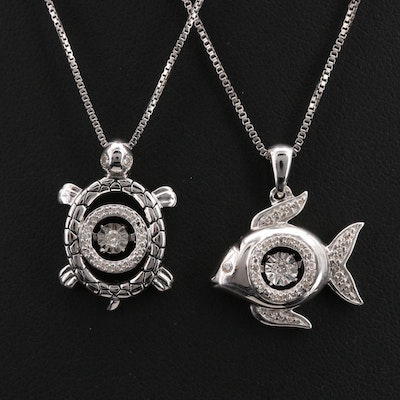 Sterling Fish and Turtle Necklaces with Floating Diamond Centers