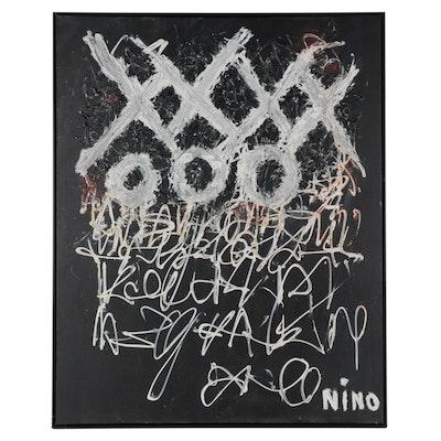 """Anthony """"Nino"""" Sarti Monumental Mixed Media Painting """"XXOO Shakespeare's Wall"""""""