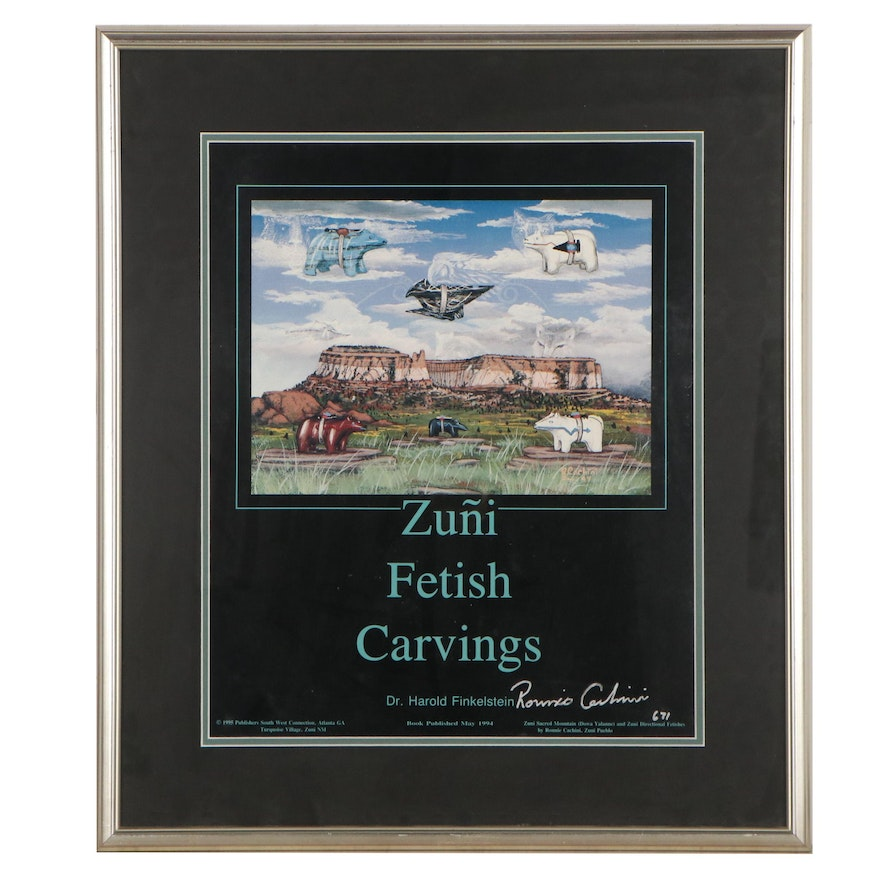 """Ronnie Cachini Offset Lithograph Poster for the Book """"Zuni Fetish Carvings"""""""