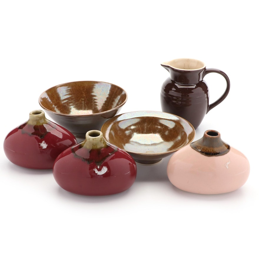 Le Creuset Stoneware Pitcher, Tozai Home Vases, and Other Ceramic Bowls