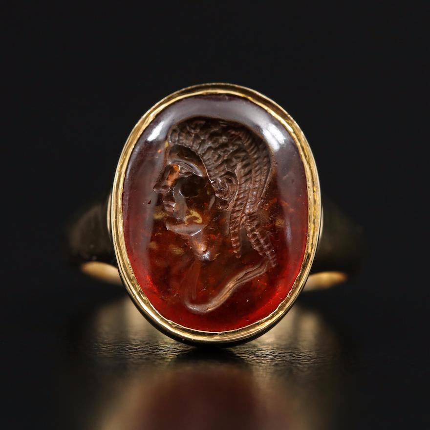 18K Spessartine Intaglio Bezel Ring