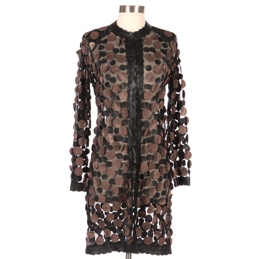 Kushi Sheer-Effect Leather Paillette Long Jacket, New with Merchant Tag