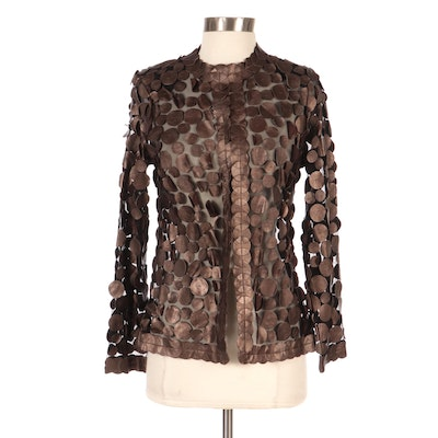 Sheer-Effect Jacket with Leather Paillette Detail, New with Merchant Tag