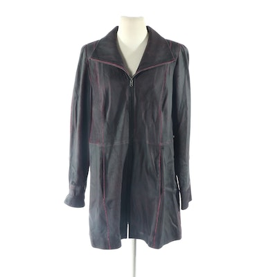 Vericci Micro Cut Lambskin Leather Short Coat, New with Merchant Tag