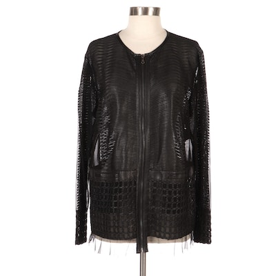 Kushi Pieced and Appliquéd Leather and Sheer Jacket, New with Merchant Tag