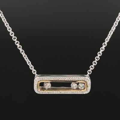 Sterling Silver Diamond Necklace with Sliding Settings and 10K Accents