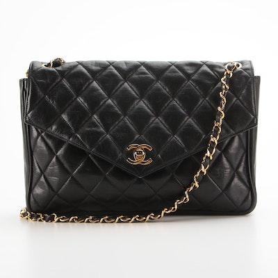 Chanel Flap Front Shoulder Bag in Black Quilted Leather