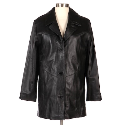 Vincents Black Leather Jacket with Quilted Lining, New with Merchant Tags