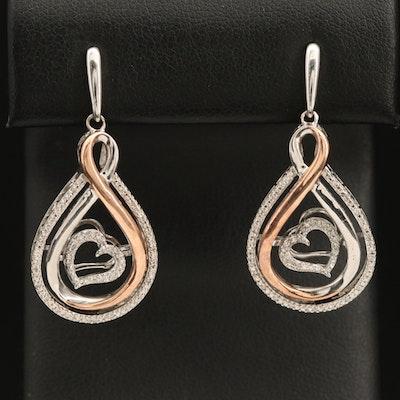 Two-Tone 10K and Sterling Diamond Heart Earrings