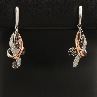 10K and Sterling Diamond Drop Earrings