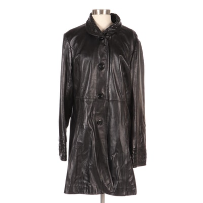 Black Woven Leather Detail Duster Jacket, New with Merchant Tags