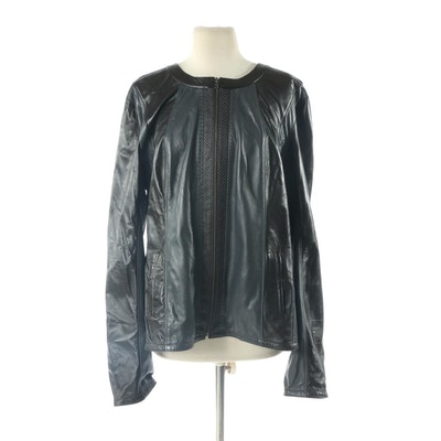 Two-Tone Leather Zip-Up Jacket, New with Merchant Tag