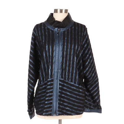 Kushi Cut Out Metallic Leather Jacket, New with Merchant Tag