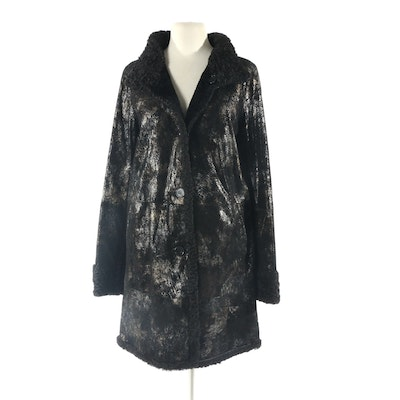 Autunno Reversible Persian Lamb Fur/Printed Suede Coat, New with Merchant Tag