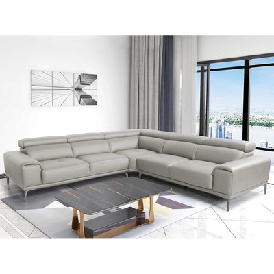 """Abbyson Living """"Quinton"""" Top Grain Leather Sectional with Adjustable Headrests"""