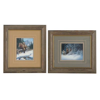 """Ron Owens Offset Lithographs """"Black Timber Snowbreak"""" and """"River's Edge"""""""
