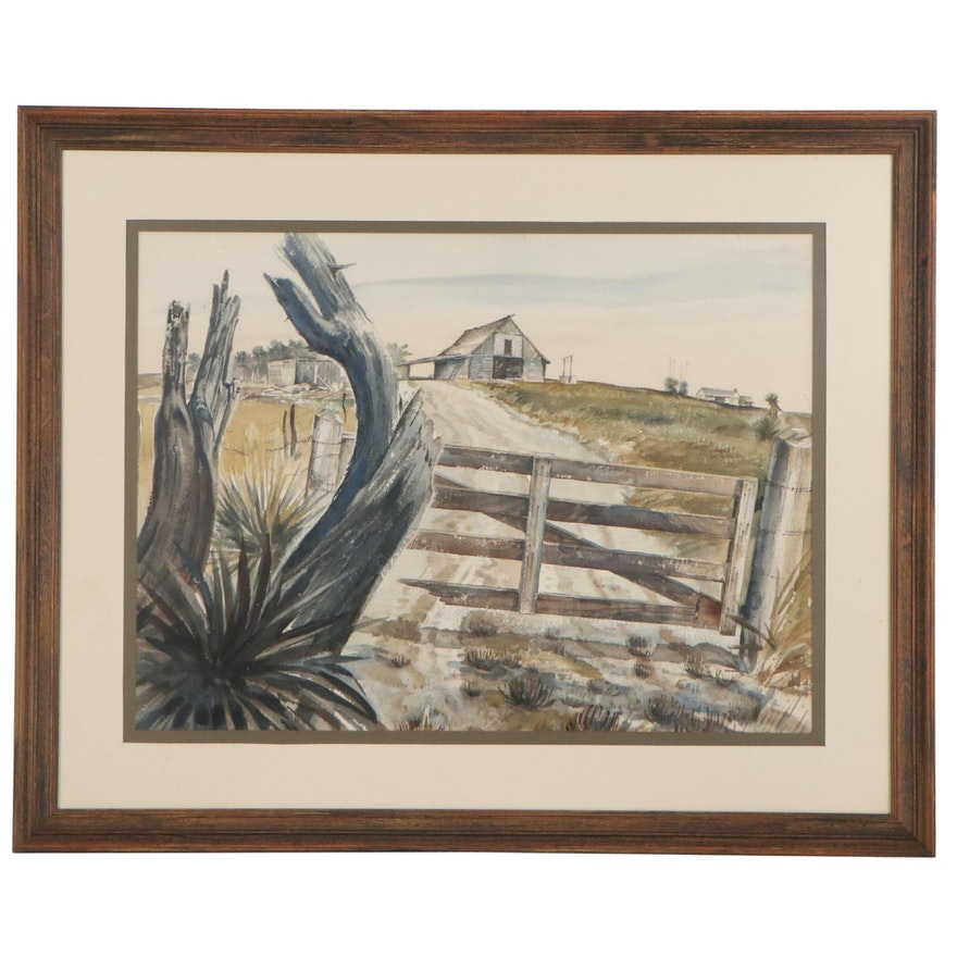 Ray Whipple Farm Landscape Watercolor Painting, Circa 1960