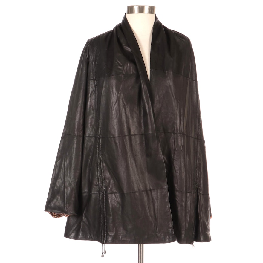 Autunno Reversible Leather/Leopard Print Jacket, New with Merchant Tag