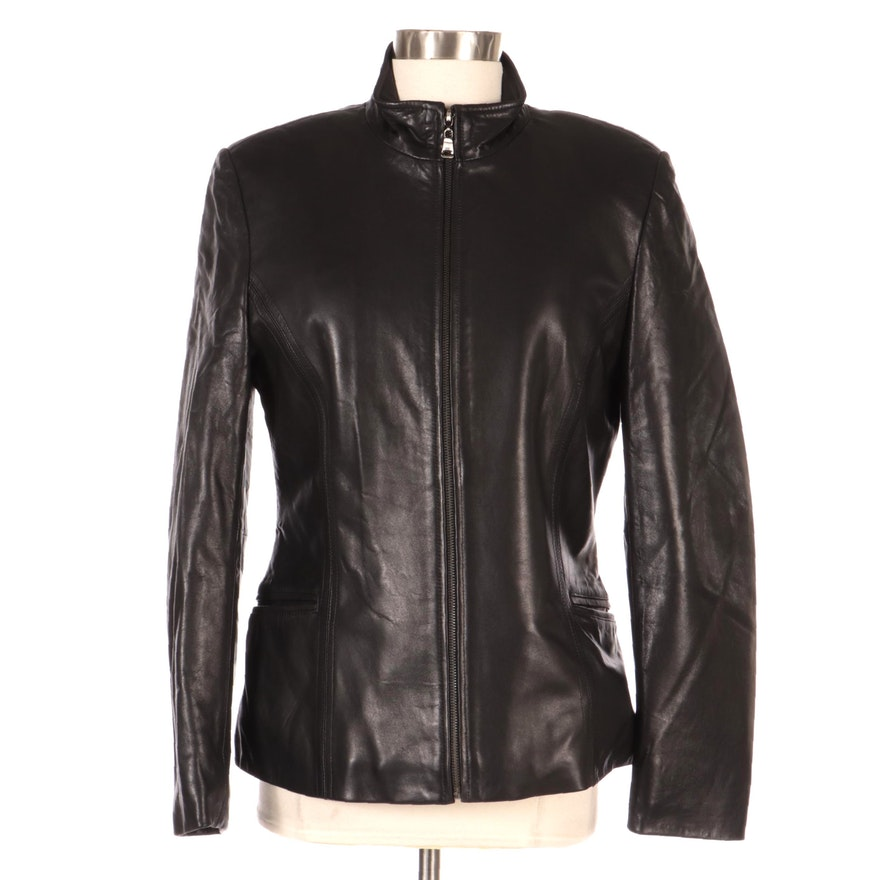 Rosleen Black Leather Zip-Up Jacket, New with Merchant Tags