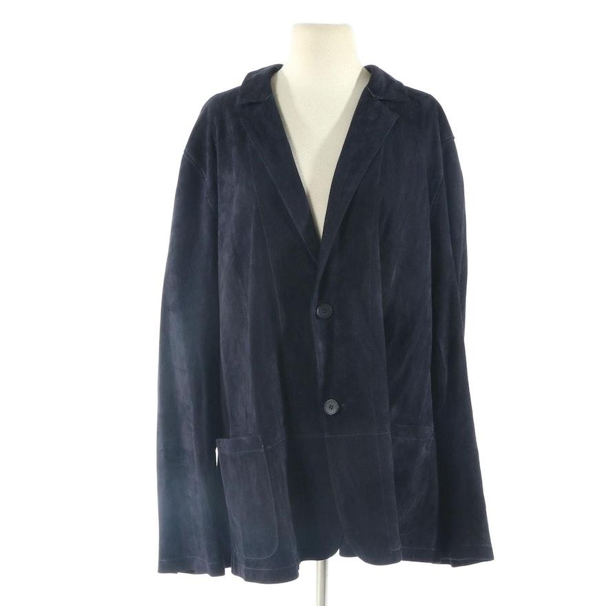 Men's PelleSi Blue Lambskin Suede Two-Button Blazer, New with Merchant Tag