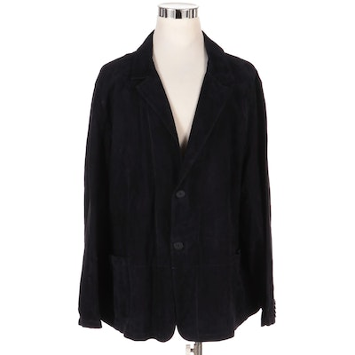 Men's PelleSi Blue Suede Unlined Two-Button Blazer, New with Merchant Tag