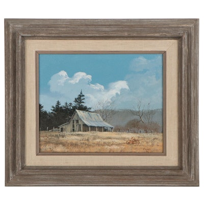 Ron Raymer Rural Landscape Oil Painting With Barn, 1986
