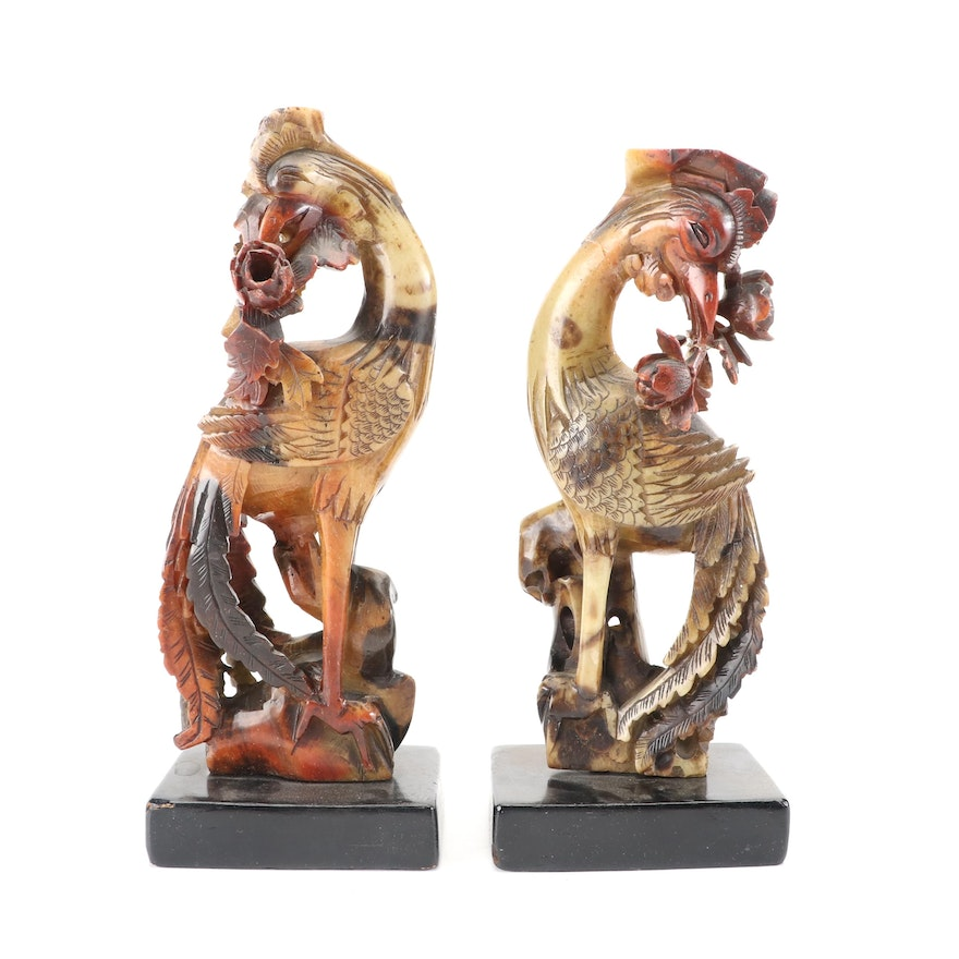 Chinese Hand-Carved Dyed Soapstone Phoenix Figures