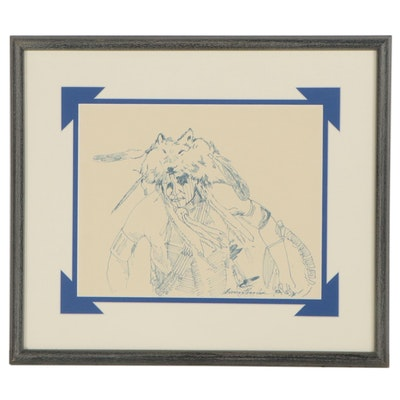"L. David Eveningthunder Ink Drawing ""Wolf Clan Dancer,"" 1992"