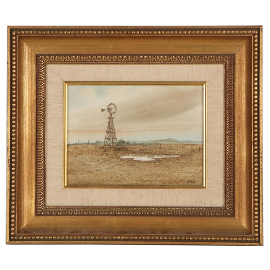 Watercolor Painting of a Windmill in a Field