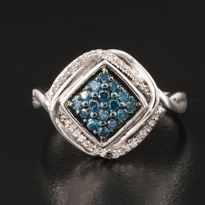 Sterling Diamond Cluster Ring
