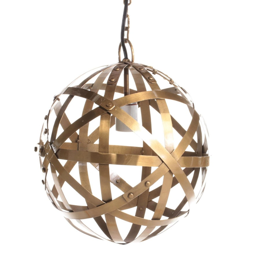 Blue Ocean Traders Modernist Style Gilt Metal Orb Pendant Light