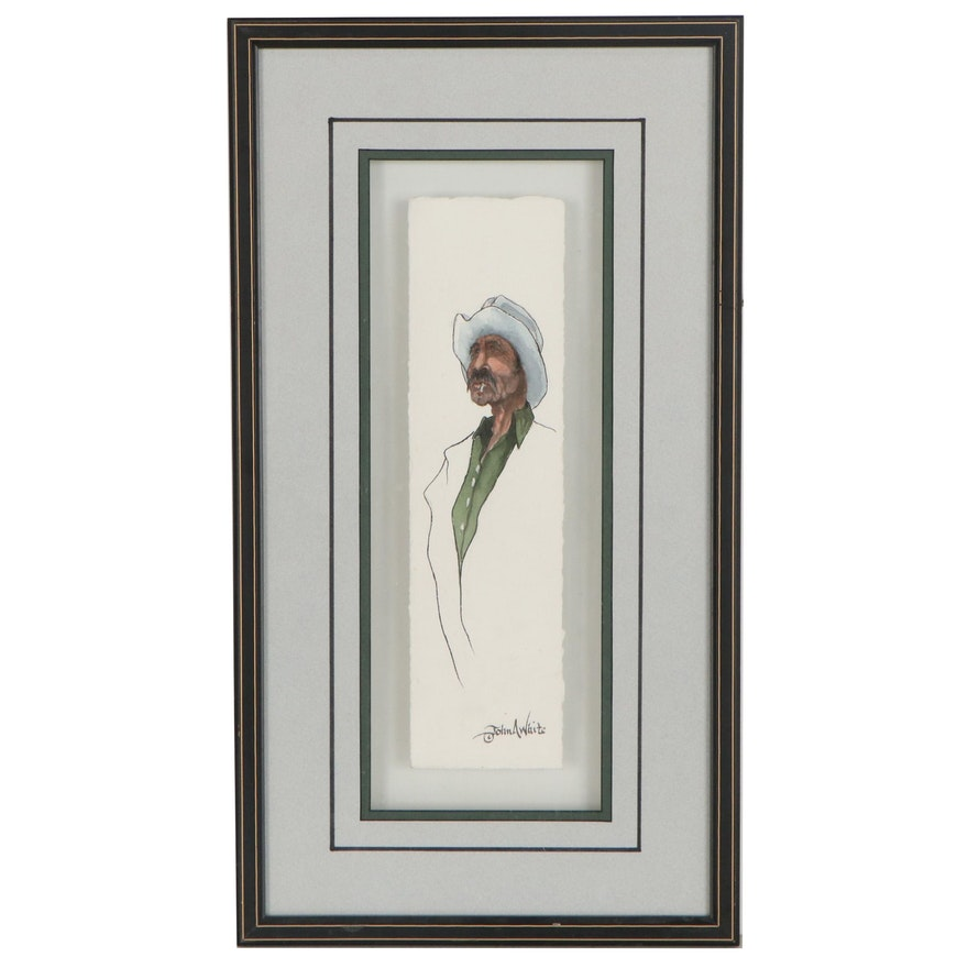 John A. White Caricature Watercolor and Ink Painting