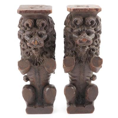 English Carved Oak Lion Columns, 18th Century