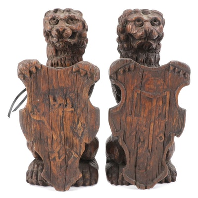 Pair of Gothic Oak Lion and Shield Newel Post Finials, Antique