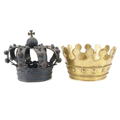 Decorative Patinated and Gilded Metal Crowns