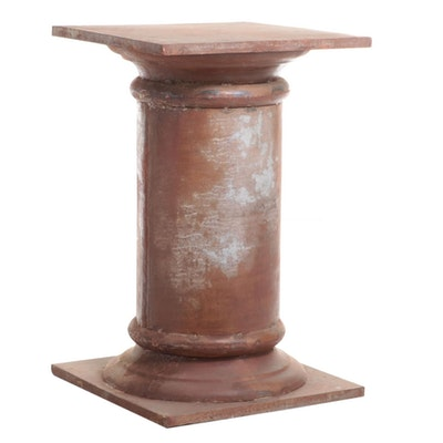 Large Neoclassical Style Patinated Metal Pedestal