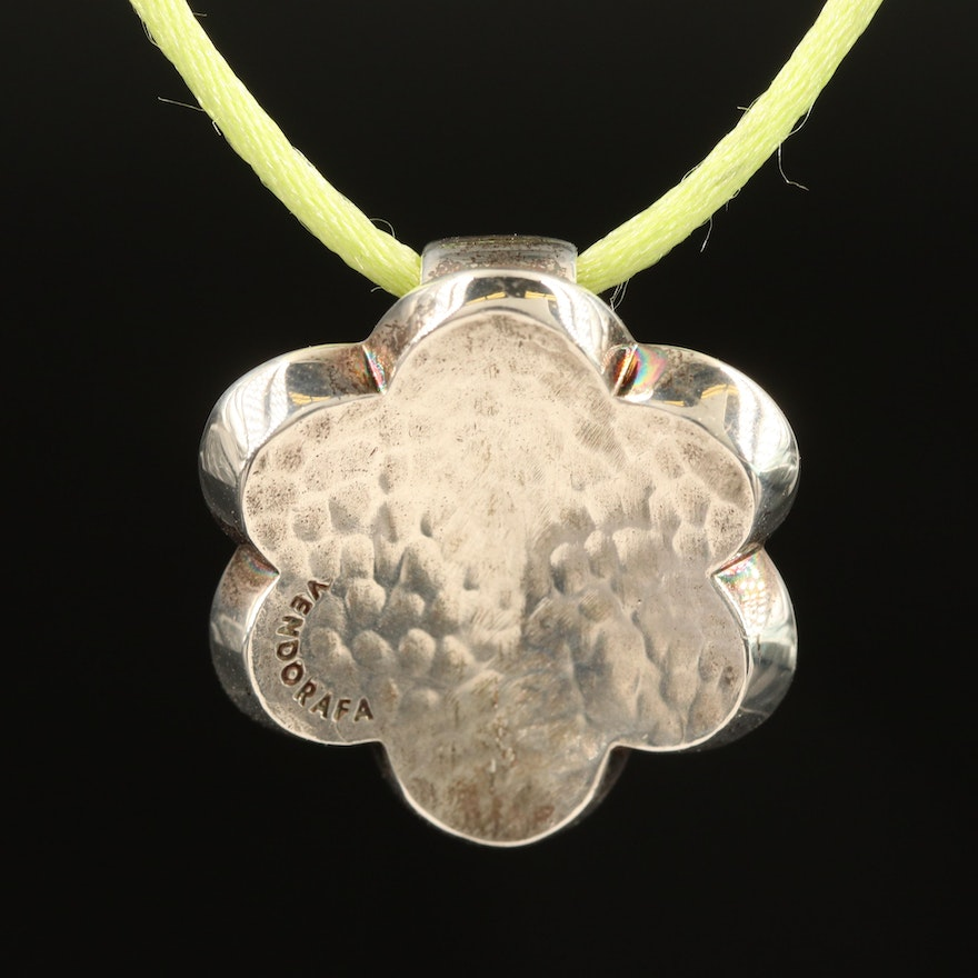 Vendorafa Sterling and Cord Flower Necklace