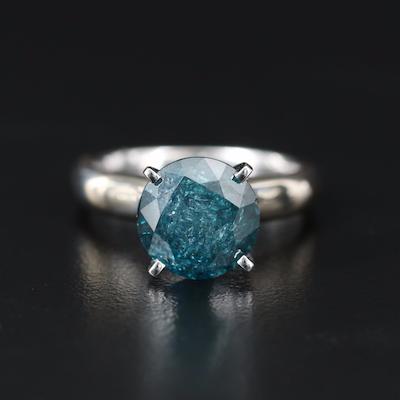 14K 4.00 CT Fancy Blue Diamond Solitatire Ring