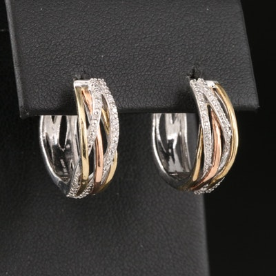 Sterling Diamond Hoop Earrings with 10K Rose and Yellow Gold Accents