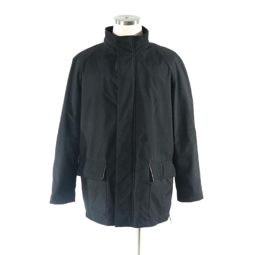 Men's Burberry Zipper-Front Coat in Black