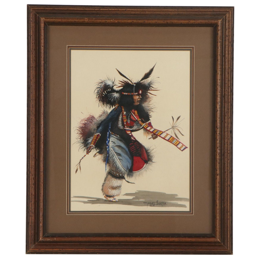 Garnet Buster Watercolor Painting of Native American Dancer, 1979