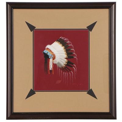 Antowine Warrior Gouache Painting of Native American Headdress, Circa 2000