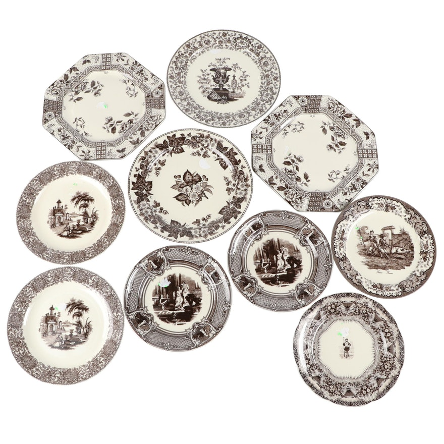 Two's Company Brown Transferware Ceramic Wall Plates