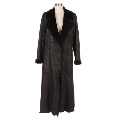 Betty Jackson of London Black Perforated Leather and Shearling Full-Length Coat