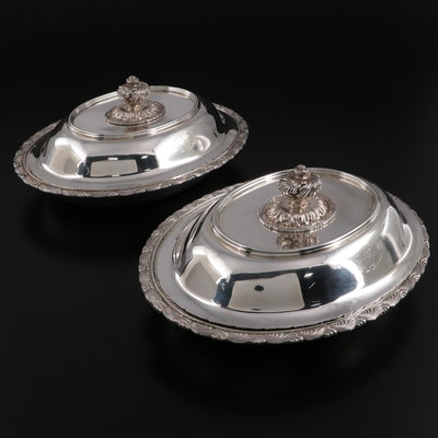 """Tiffany & Co Sterling Silver """"Wave Edge"""" Covered Vegetable Dishes"""