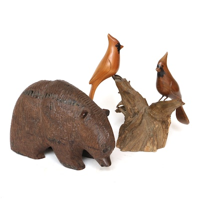 Carved Wood Grizzly Bear and Cardinal Sculptures