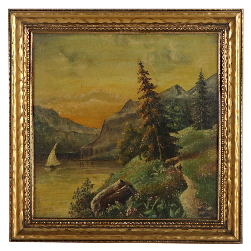 Alpine Landscape Oil Painting With Lake, Early-Mid-20th Century